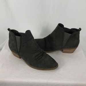 Report 9.5 Gray Perforated Suede Ankle Boots